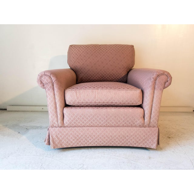Pennsylvania House Pink Club Chair Long Stretcher for Tall People Especially Comfortable; 32H x 36 x 34D Excellent. Seat...