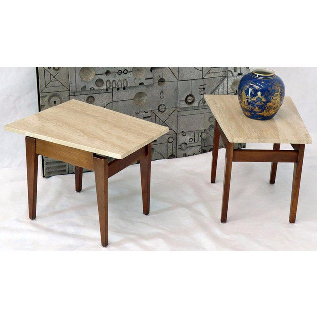 Jens Risom Risom Walnut End Tables W/ Wedge Shape Travertine Marble Tops - A Pair For Sale - Image 4 of 13