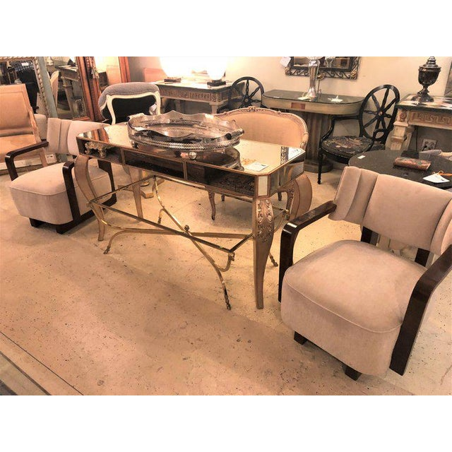 Pair of Modern Art Deco Rosewood Club Bergère or Lounge Chairs For Sale - Image 12 of 13