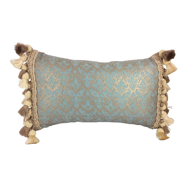 Fortuny Aqua Silk & Down Filled Pillows - A Pair - Image 1 of 4