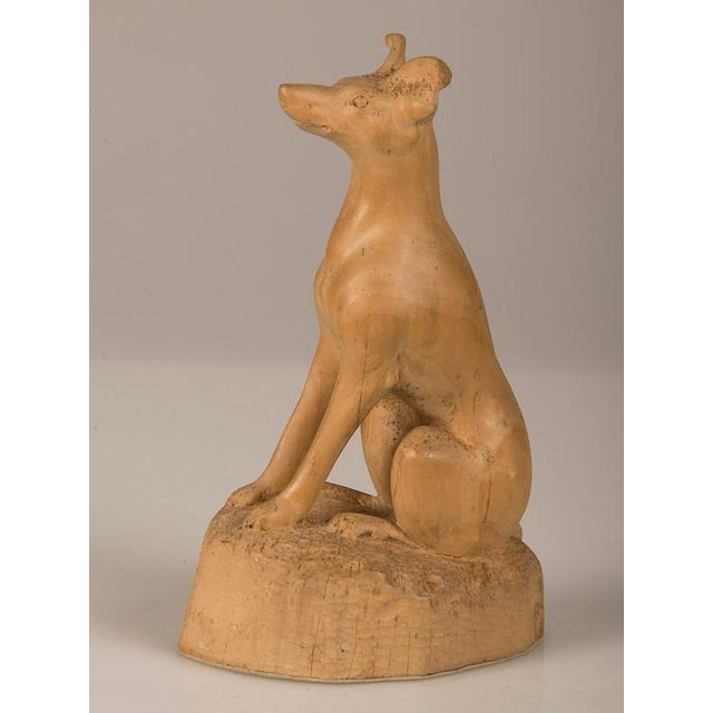 Modern 19th Century English Hand Made Carved Wood Dog Sculpture For Sale - Image 3 of 6