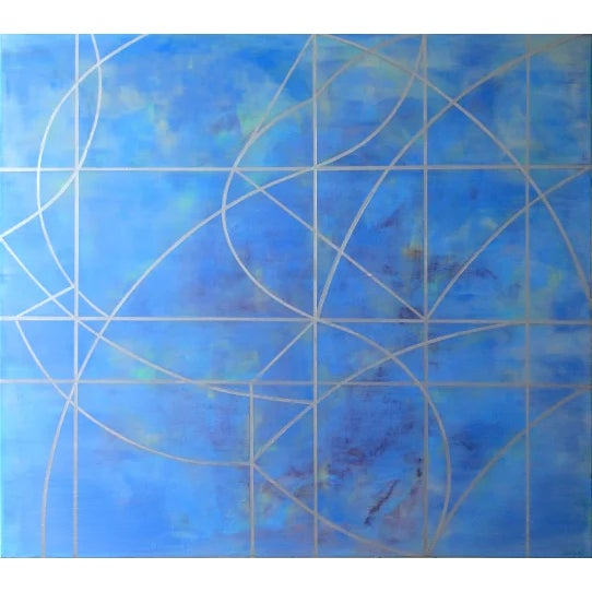 """Abstract Gudrun Mertes-Frady """"In the Air"""" Blue Abstract Painting on Paper For Sale - Image 3 of 3"""