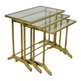 Brass Faux Bamboo Glass Top Nesting Side Tables - Set of 3 For Sale
