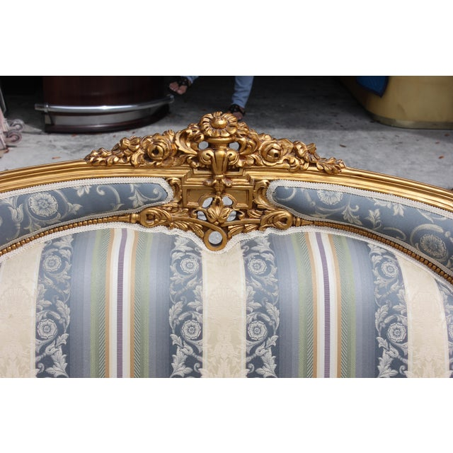 1940s Vintage French Louis XVI Style Giltwood Loveseat For Sale - Image 4 of 13