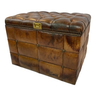 English Tufted Leather Ottoman For Sale