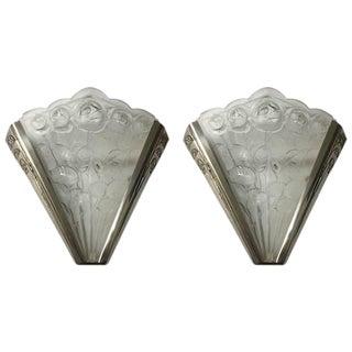 Verrerie Des Hanots Signed Pair of French Art Deco Sconces - a Pair For Sale