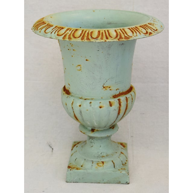 Vintage Teal/Blue Cast Iron Urn Planters - Pair For Sale In Los Angeles - Image 6 of 11