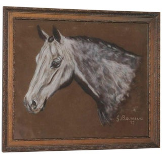 Hand-Painted Horse Head on Leather, Dated 1927 For Sale