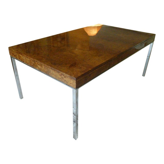 1970's Vintage Milo Baughman Style Burl-wood & Chrome Dining Table For Sale