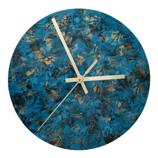 Hand Painted Round Teal & Black Wall Clock