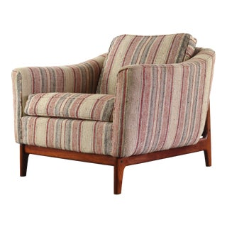 Mid Century Modern Danish Lounge Chair on Walnut Base with Gorgeous Back Detail For Sale