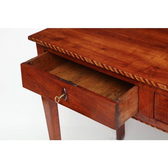 18th Century Italian Cherry Table With Parquetry Border and Two Drawers For Sale - Image 4 of 10