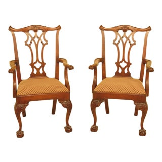 Statton Chippendale Cherry Ball & Claw Arm Chairs - A Pair For Sale