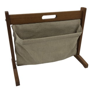Mid Century Modern Teak & Canvas Magazine Rack For Sale