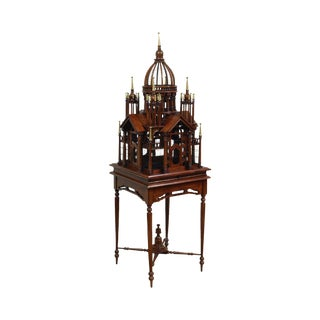 Maitland Smith Mahogany Architectural Bird Cage For Sale