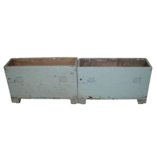 Vintage Blue Industrial Tool Storage Chests or Crates - a Pair For Sale