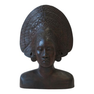 African Wood Female Bust Figurative Sculpture For Sale