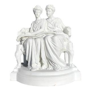 Sevres Style Antique French Porcelain Figural Group Edouard Lanteri Signed Sculpture For Sale