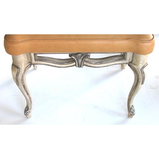 Rococo A Gracefully-Shaped Pair of French Rococo Style Gray-Painted Rectangular Stools With Leather Seats For Sale - Image 3 of 8