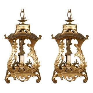 Pair of Venetian Style Tole Lantern Pendants For Sale