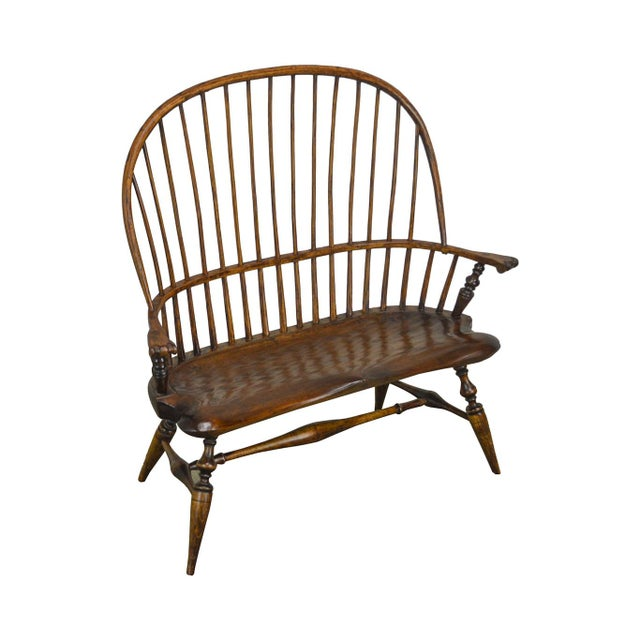 Windsor Style Hand Crafted Miniature Childs Settee by K. Malone (18th Century Reproduction) For Sale - Image 12 of 12