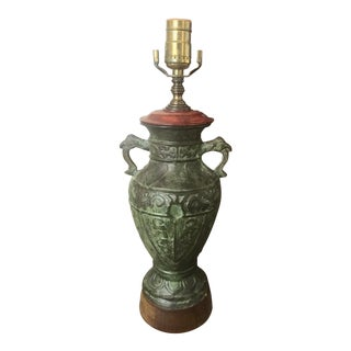 James Mont Style Mid-Century Chinese Bronze Table Lamp For Sale