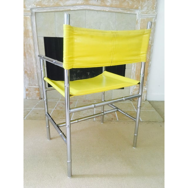 Mid-Century Chrome Arm Chair in Yellow - Image 8 of 8