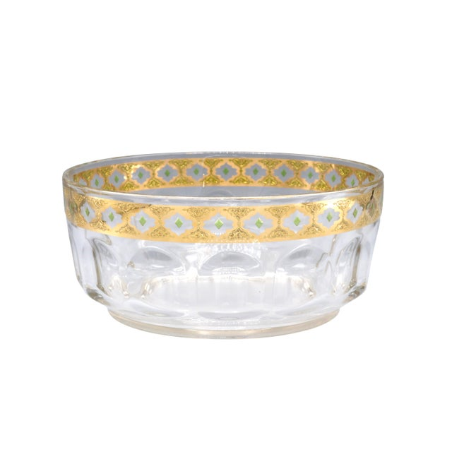 """Beautiful Mid-Century heavy crystal glass bowl with gold trim on top. Made in France 1970's Circa Diameter: 9"""" inches..."""