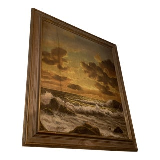 Vintage Mid-Century Framed Sunset Seascape Oil on Canvas Painting For Sale