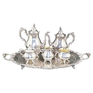 "Antique 6-Piece ""Baroque"" Silver Plate Tea Set by Wallace, Circa 1890 For Sale"