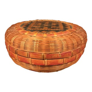 Vintage Hand Made Chinese Lidded Sewing Basket
