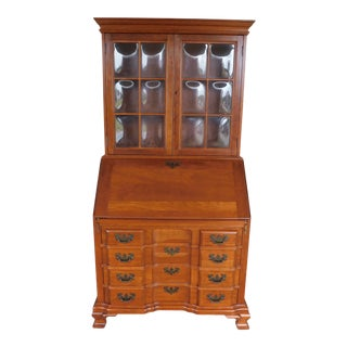 Maddox Cherry Chippendale Style Block Front Slant Top Desk For Sale