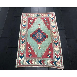 Antique Turkish Anatolian Aztec Decorative Hand Rug - 4′4″ × 6′7″ Preview