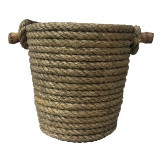 Rope Bucket With Bamboo Handle Audoux Minet, Circa 1960 For Sale