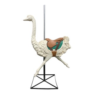 """Vintage Large Scale Fiberglass """"Dentzel"""" Style Ostrich on Stand C.1950 For Sale"""