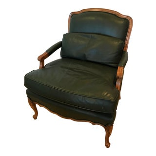 Bergere Chair With Hunter Green Leather Upholstery For Sale