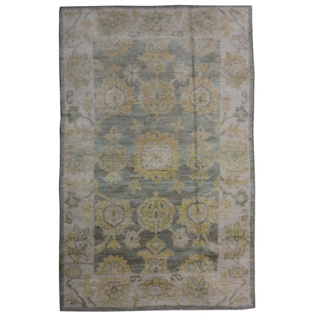 "Traditional Aara Rugs Inc. Hand Knotted Oushak Rug - 6'2"" x 4'2"" For Sale - Image 3 of 4"