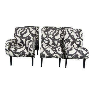 1990s Vintage Thayer Coggin Upholstered Modern Dining Chairs- Set of 6 For Sale