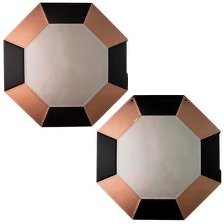 Pair of Art Deco Octagonal Mirrors With Black and Apricot Mirrored Frame For Sale