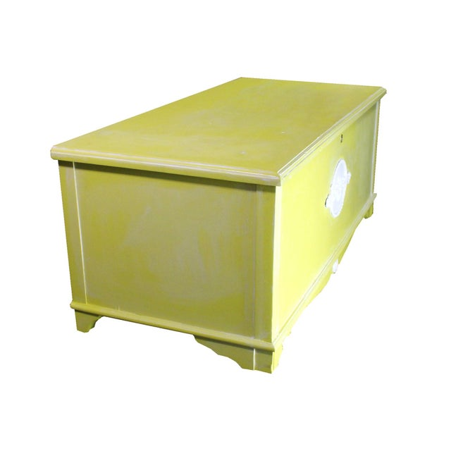 Whitewashed Citron Painted Antique Red Cedar Chest by Gregory Furniture Mfg. For Sale In Los Angeles - Image 6 of 8
