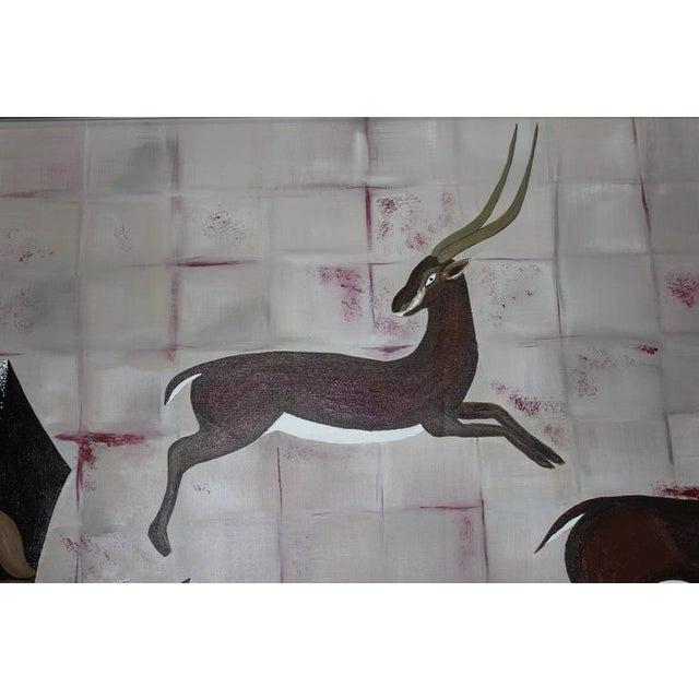 """1950s Vintage Art Deco Style """"Diana the Huntress"""" Oil Painting - Image 4 of 10"""