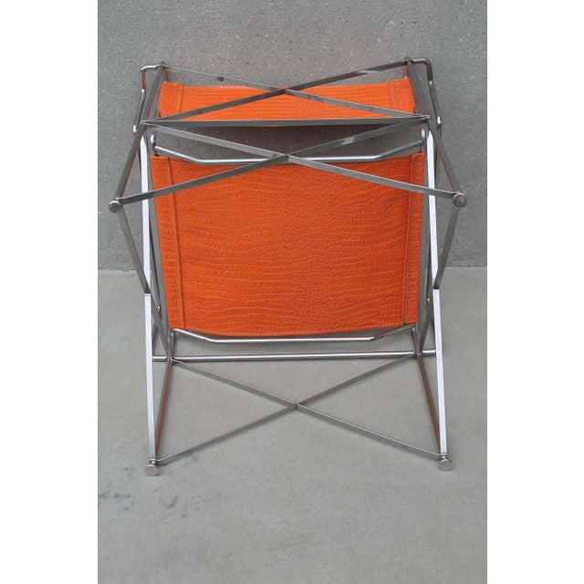 Faux Alligator Orange Chairs- A Pair For Sale - Image 4 of 8
