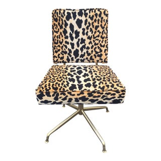 1950s Contemporary Velvet Cheetah Print Swivel Office Chair