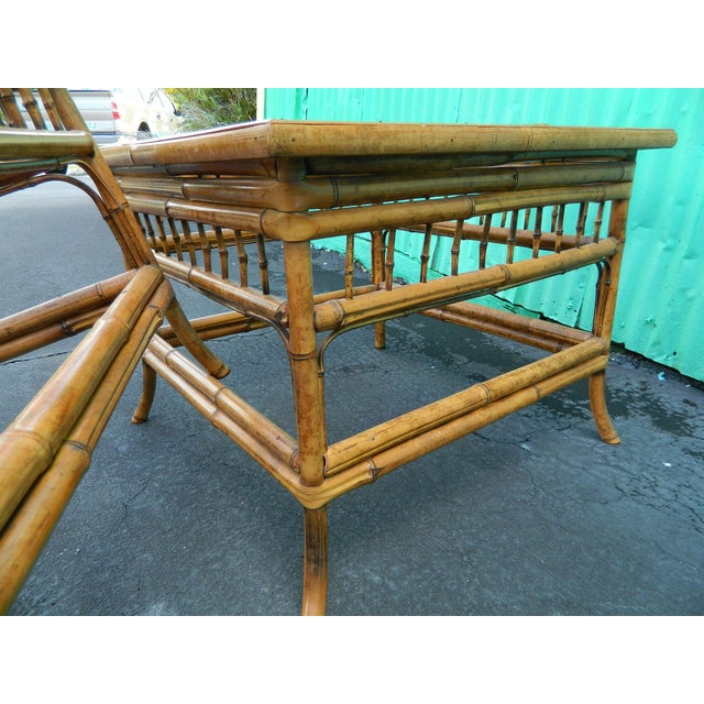 Vintage Mersman Rattan Chippendale End Tables - a Pair - Image 4 of 7