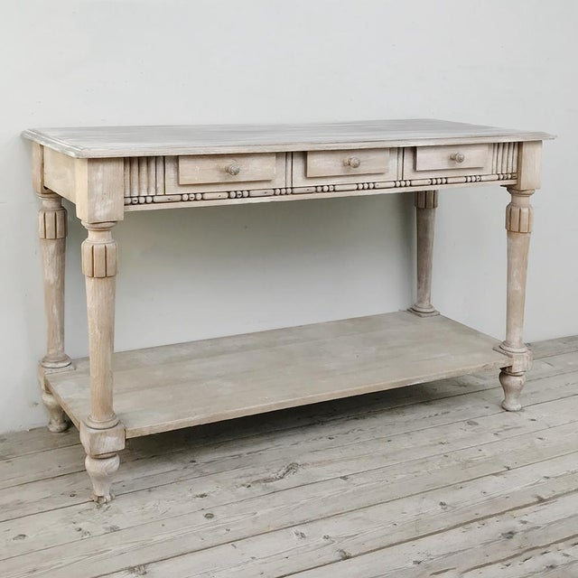 Antique Country French Whitewashed Console ~ Sofa Table For Sale - Image 4 of 13