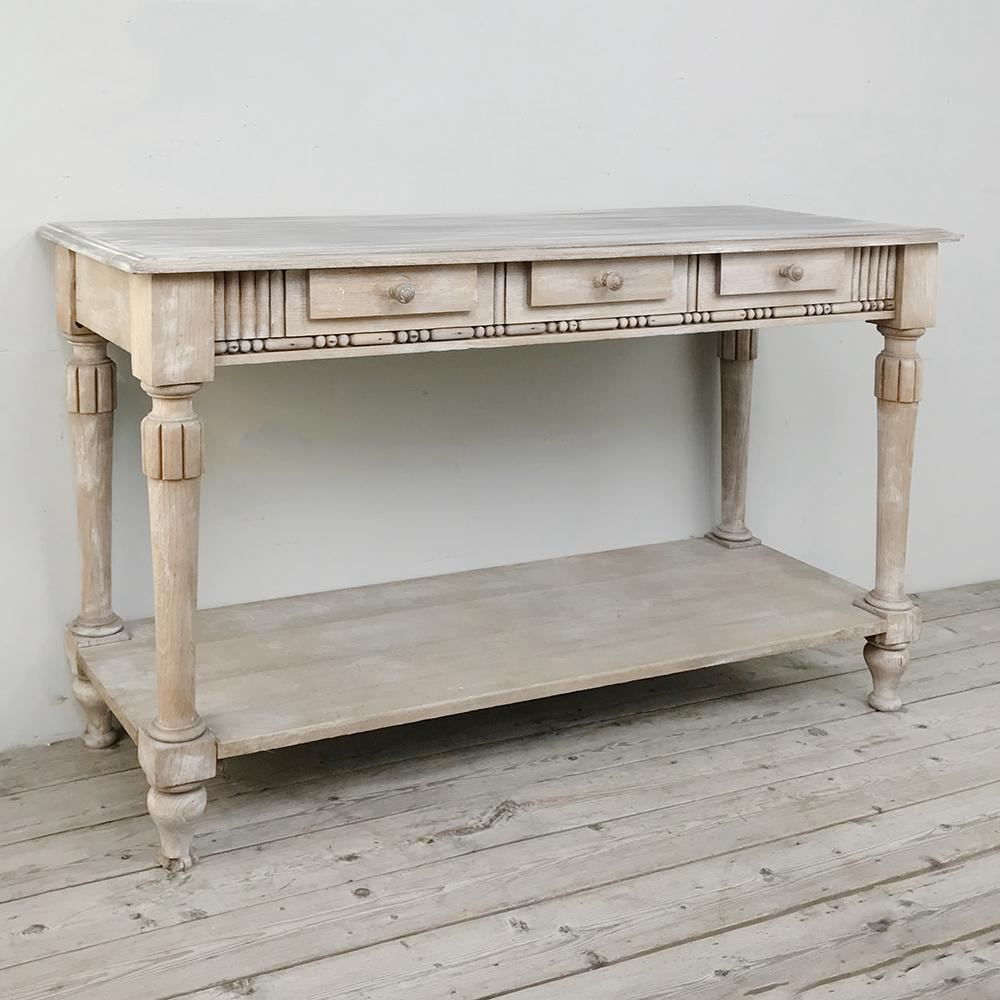 Antique Country French Whitewashed Console ~ Sofa Table