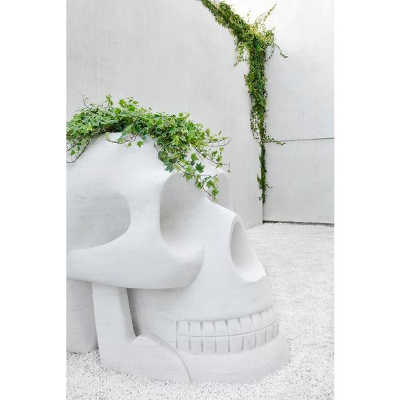 Custom Designer's Solid Carrara Marble Skull Sculptures - a Pair - Image 2 of 11
