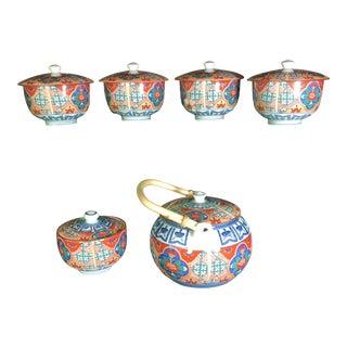 1970s Vintage Japanese Imari Tea Set of 6 For Sale