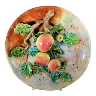 """Antique Majolica French Barbotine Palissy Charger/Plate Apples 13"""" For Sale"""