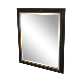 Regency Style Distressed Black & Gold Frame Rectangular Beveled Mirror For Sale